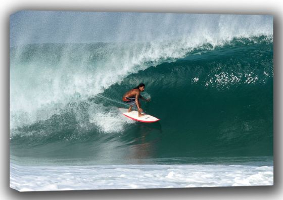 A Mexican Surfing a Big Wave. Surf Canvas. Sizes: A4/A3/A2/A1 (001309)